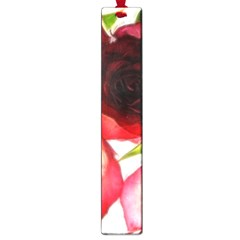 Pink And Red Roses On White Large Bookmark