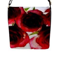 Pink and Red Roses on White Flap Closure Messenger Bag (Large)