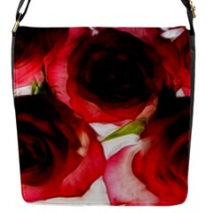 Pink and Red Roses on White Flap Closure Messenger Bag (Small)