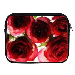 Pink And Red Roses On White Apple Ipad Zippered Sleeve