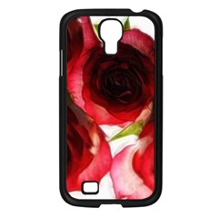 Pink And Red Roses On White Samsung Galaxy S4 I9500/ I9505 Case (black)