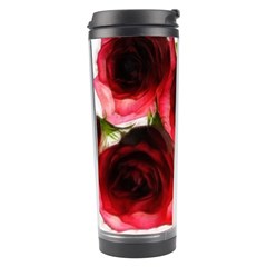 Pink and Red Roses on White Travel Tumbler