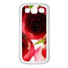 Pink And Red Roses On White Samsung Galaxy S3 Back Case (white)