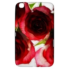 Pink and Red Roses on White Samsung Galaxy Tab 3 (8 ) T3100 Hardshell Case