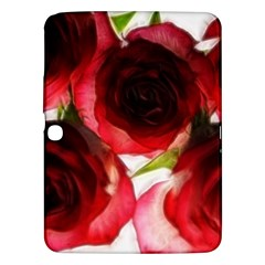 Pink And Red Roses On White Samsung Galaxy Tab 3 (10 1 ) P5200 Hardshell Case