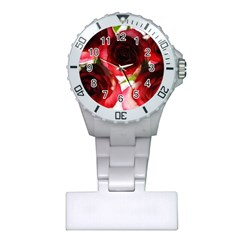 Pink and Red Roses on White Nurses Watch