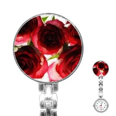 Pink And Red Roses On White Stainless Steel Nurses Watch