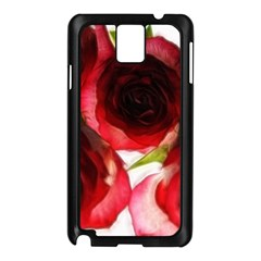 Pink And Red Roses On White Samsung Galaxy Note 3 N9005 Case (black)