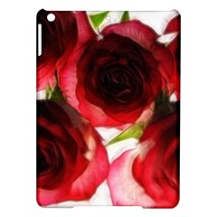 Pink and Red Roses on White Apple iPad Air Hardshell Case