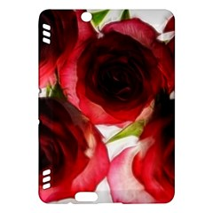 Pink and Red Roses on White Kindle Fire HDX 7  Hardshell Case