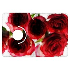 Pink and Red Roses on White Kindle Fire HDX 7  Flip 360 Case