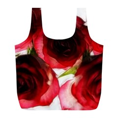 Pink And Red Roses On White Reusable Bag (l)