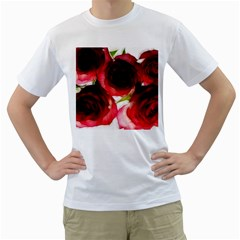 Pink and Red Roses on White Men s T-Shirt (White)
