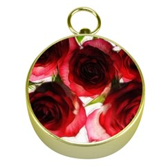 Pink and Red Roses on White Gold Compass