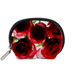 Pink and Red Roses on White Accessory Pouch (Small)