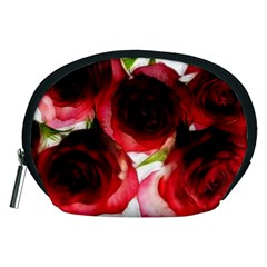 Pink And Red Roses On White Accessory Pouch (medium)