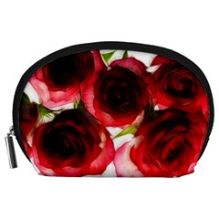 Pink And Red Roses On White Accessory Pouch (large)