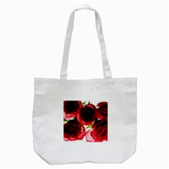 Pink and Red Roses on White Tote Bag (White)