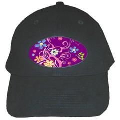 Flowery Flower Black Baseball Cap
