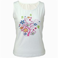 Flowery Flower Women s Tank Top (White)