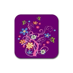 Flowery Flower Drink Coasters 4 Pack (square)