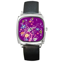 Flowery Flower Square Leather Watch