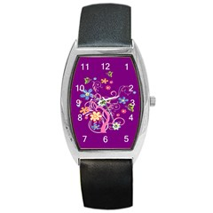 Flowery Flower Tonneau Leather Watch