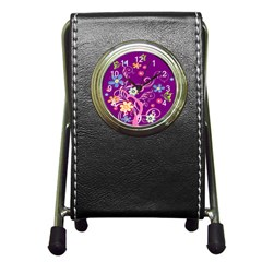 Flowery Flower Stationery Holder Clock