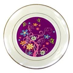 Flowery Flower Porcelain Display Plate