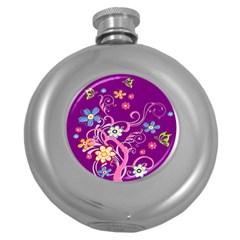 Flowery Flower Hip Flask (Round)