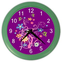 Flowery Flower Wall Clock (Color)