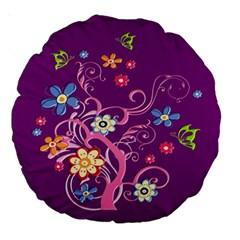 Flowery Flower 18  Premium Round Cushion