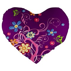 Flowery Flower 19  Premium Heart Shape Cushion
