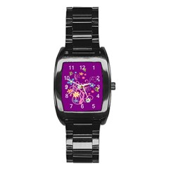 Flowery Flower Stainless Steel Barrel Watch