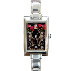 Death and Flowers Rectangular Italian Charm Watch