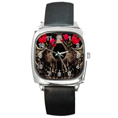 Death and Flowers Square Leather Watch