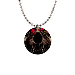 Death And Flowers Button Necklace