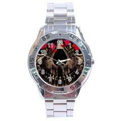 Death And Flowers Stainless Steel Watch