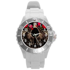 Death And Flowers Plastic Sport Watch (large)