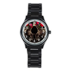 Death and Flowers Sport Metal Watch (Black)