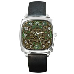 Japanese Garden Square Leather Watch