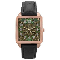Japanese Garden Rose Gold Leather Watch