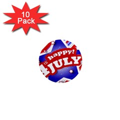 4th Of July Celebration Design 1  Mini Button Magnet (10 Pack)
