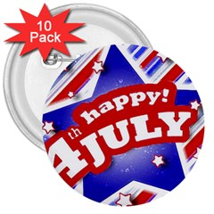 4th of July Celebration Design 3  Button (10 pack)