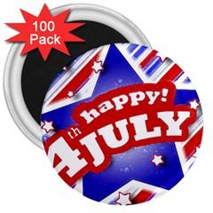 4th Of July Celebration Design 3  Button Magnet (100 Pack)