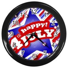 4th Of July Celebration Design Wall Clock (black)