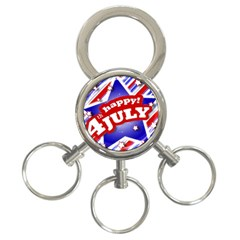 4th of July Celebration Design 3-Ring Key Chain