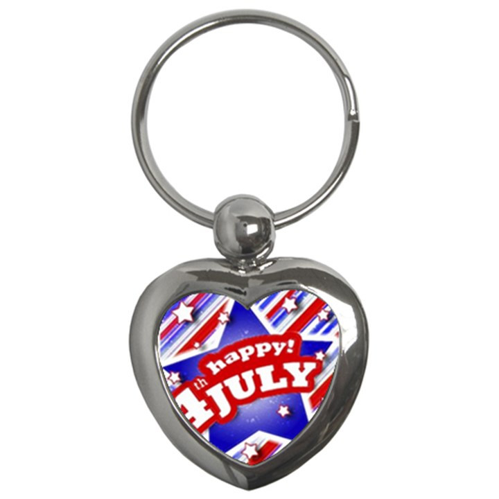 4th of July Celebration Design Key Chain (Heart)
