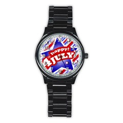 4th of July Celebration Design Sport Metal Watch (Black)