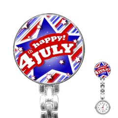 4th of July Celebration Design Stainless Steel Nurses Watch